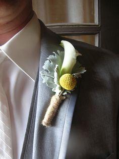 Calla lily, Billy Ball, Dusty Miller leaf, twine tie~ Stems Flower Shop