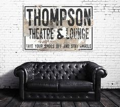 Fixer Upper Style Personalized Family Name Theatre Sign for your living room. Home theatre wall decor.  Personalized signs for your home.