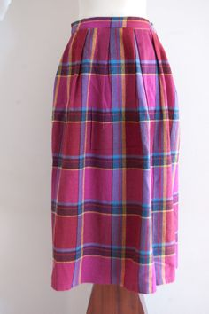 1980s Diane von Furstenberg plaid wool skirt by inheritedattire, $40.00