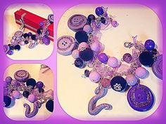 Purple beads and buttons by polymer clay. Purple bracelet