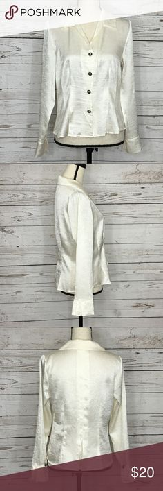 Christopher & Banks Ivory Button Front Blouse Gorgeous ivory, button front, silky, long sleeve blouse. Excellent used condition. Bust:  ; Length in the back from the shoulder to the bottom hem:  Measurements are approximate. Smoke free home. 🌺Thanks for shopping my closet😊🌺 Christopher & Banks Tops Button Down Shirts
