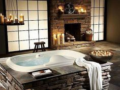 Beautiful Bathroom with Fireplace