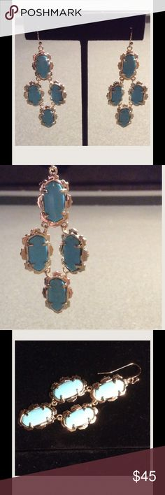 "Kendra Scott Turquoise Chandelier Earrings Turquoise and gold Chandelier earrings.  2 1/4"" length. Kendra Scott Jewelry Earrings"