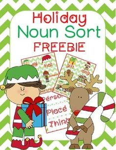Get your students into the Holiday spirit while also reviewing nouns with this Holiday Noun Sort FREEBIE!  Includes: -3 Label Cards -12 Colorful Sorting Noun Cards with Pictures & Words -Student Recording Sheet   Other Products You May Be Interested In: Christmas Traditions in the USA  First Grade Morning Message Center-15 Winter Themes/a>