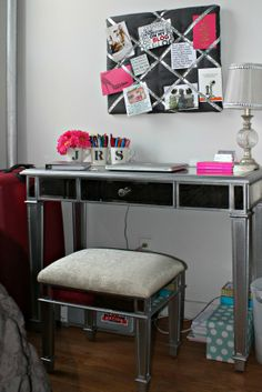 Gray & Pink apartment bedroom :: bows & sequins