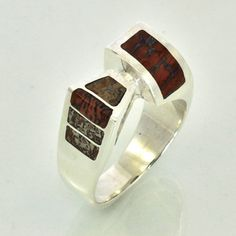 Dinosaur Bone Inlaid Freeform Style Silver Ring by JewelerJim, $145.00