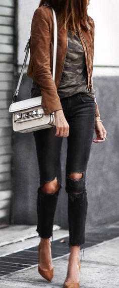 Spring Outfits You Should Already Own Leather Jacket Outfit Spring, Brown Suede Jacket, Red Denim Skirt, Black Leather Skirts, Rush Dresses, White Playsuit, Burgundy Jeans, Military Fashion, Military Style
