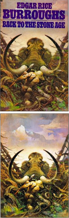 FRANK FRAZETTA - Back to the Stone Age by Edgar Rice Burroughs - 1985 Ace Books - print/cover by capnscomics.blogspot.com