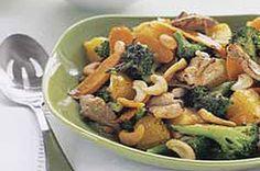 Citrus Pork Stir-Fry recipe - Kraft Mag Summer 2005 pg 38. Pork loin, broccoli, oranges, carrots, cashews, italian dressing, soy sauce.