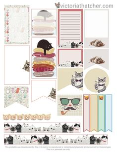FREE Cats Planner Printable by Victoria Thatcher Más Free Planner, Planner Pages, Happy Planner, Planner Ideas, Agendas Diy, Images Vintage, Printable Planner Stickers, Free Printables, Planner Organization