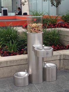 Custom fountain with a treat dispenser!