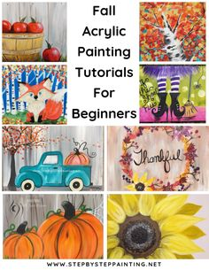 Fall canvas painting - Fall Canvas Paintings Easy Canvas Painting For Beginners Step By Step – Fall canvas painting Canvas Painting Designs, Fall Canvas Painting, Simple Canvas Paintings, Canvas Painting Tutorials, Autumn Painting, Autumn Art, Painting Videos, Easy Paintings, Diy Painting
