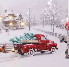 christmas scenes I want more than anything is time with you, Mark Christmas Red Truck, Christmas Scenes, Christmas Mood, Noel Christmas, Merry Little Christmas, Vintage Christmas Cards, Christmas Images, Country Christmas, Beautiful Christmas Pictures