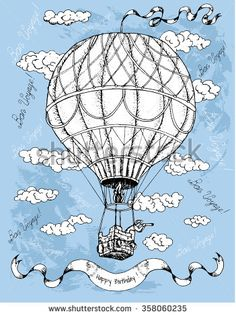Hand drawn illustration with white air balloon, clouds and text on blue textured background. Vintage happy birthday card with doodle line art design elements. Have a good trip text in French.