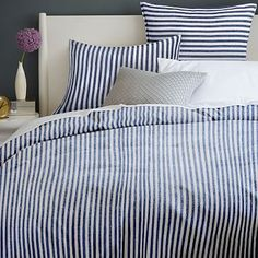 Flannel Stripe Duvet Cover + Shams #westelm in Grey with monogramed pillow <3