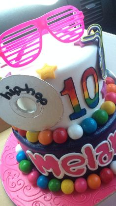 """this with a 16 not gumballs but little perles the bottom pink top light blue and light blue shades and the cd to say my name and the bottom to say """"I slay"""" this is a hip-hop dance party <3 ~Danyale"""