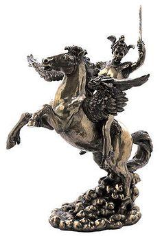 Greek Hero Perseus On Pegasus Statue Sculpture Figurine Greek Mythology