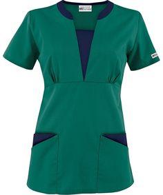 Style # Turquoise w/ Coffee Bean: Butter-Soft Scrubs by UA™ Contrast V-Neck Scrub top Scrubs Outfit, Scrubs Uniform, Cute Nursing Scrubs, Buy Scrubs, Scrubs Pattern, Stylish Scrubs, Beauty Uniforms, Medical Scrubs, Nurse Scrubs
