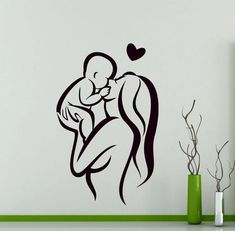Mother and Baby Wall Sticker Love Heart Family Vinyl Decal Home Room Interior Decoration Waterproof High Quality Mural Mother And Baby Tattoo, Mother Son Tattoos, Baby Name Tattoos, Family Tattoos, Wall Stickers Love, Mothers Day Drawings, Interior Room Decoration, Room Interior, Tattoo For Son