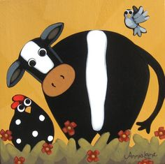 """"""" Mornin Gossip """" Whimsical Cow and Chicken Painting, Whimsical Art by Annie Lane www.yessy.com/annielane"""