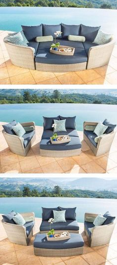 Bring comfort and versatility to your outdoor living space with the Venice Slate 4 pc Set by Sirio. Featuring 2 oversized club chairs, a love seat and ottoman, when pushed together they make a comfy day bed for 2. When separated you have individual seating and with the long ottoman, foot space for everyone.