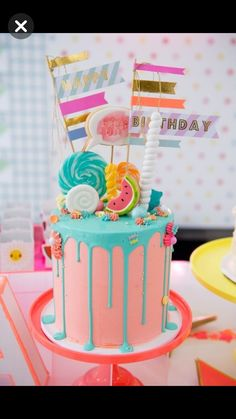 Pastel Neon Teen Birthday Party 2019 Cute Candy-topped Drip Cake from a Pastel Neon Teen Birthday Party on Kara's Party Ideas 12th Birthday Cake, Birthday Cakes For Teens, Cute Birthday Cakes, 13th Birthday Parties, Birthday Party Ideas For Teens 13th, Neon Birthday, Birthday Bash, Bolo Neon, Neon Cakes
