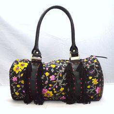 MARY FRANCES Western Fringe Floral Beaded Duffel Shoulder Bag Purse Travel Tote #MaryFrances #ShoulderBag