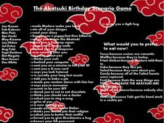 Another random birthday scenario game (Akatsuki) by TheBlueEyedVampire on deviantART