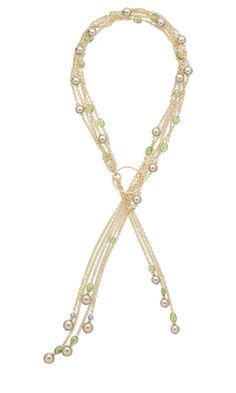 Multi-Strand Lariat-Style Necklace with Gold-Filled Chain, Swarovski Crystal Pearls and Peridot Beads