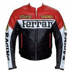FERRARI RED/WHITE RACING LEATHER JACKET