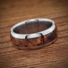Titanium Wood Wedding Band Spalted Maple Burl Men's by spexton