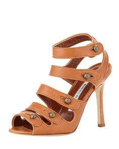Bocekay Button-Strap Sandal, Tan by Manolo Blahnik at Bergdorf Goodman.