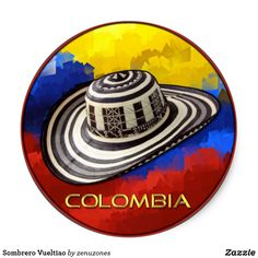 Shop Sombrero Vueltiao Classic Round Sticker created by zenuzones. Feeling Down, How Are You Feeling, Salsa Musica, Visit Colombia, Colombia South America, Round Stickers, Hama Beads, Cricut, Neon Signs