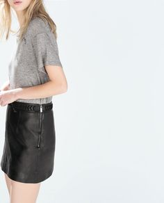 Image 1 of LEATHER SKIRT WITH BRAIDED BELT from Zara