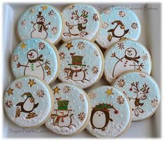 A set of rubber-stamped and hand painted winter& cookies. Fancy Cookies, Iced Cookies, Cute Cookies, Cupcake Cookies, Christmas Biscuits, Christmas Sugar Cookies, Holiday Cookies, Noel Christmas, Christmas Baking