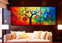 MODERN ABSTRACT WALL ART PAINTING ON CANVAS NEW Style ! (NO FRAME)The colorful tree other prints