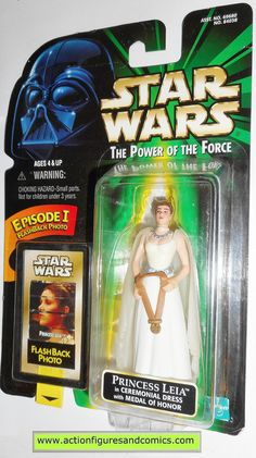 star wars action figures PRINCESS LEIA ceremonial dress flashback power of the force 1998 hasbro toys moc mip mib