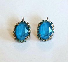 Swarovski Crystal 18X13mm oval fancy stone leverback earrings blue azure #Swarovski