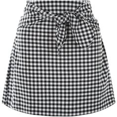Black Skirts (305 MXN) ❤ liked on Polyvore featuring skirts, gingham skirt, mini skirt, short skirts, tie front skirt and short mini skirts