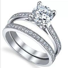 925 Sterling Silver Cz Wedding Ring Set