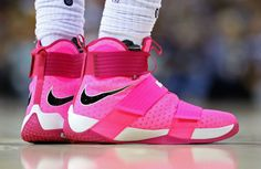 73692eb27cdb LeBron James Wearing Pink Nike LeBron Soldier 10 for Breast Cancer Awareness  Shoes Pink Sneakers