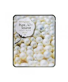 Mascarilla de algodón MISSHA Pure Source Sheet Pearl Mask De Missha.  Mascarilla de algodón 100% puro impregnada con extracto de perla. Devuelve la hidratación y luminosidad a las pieles con tono apagado. En http://www.skinthinks.com #missha #skinthinks