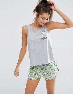 Image 1 of ASOS Avocuddle Pocket Vest & Short Pyjama Set
