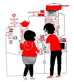 Artista cria série de ilustrações para provar que o amor está nas pequenas coisas É uma manhã tranquila na cozinha