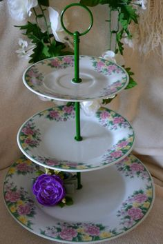 Tiered Cake Stand Pink Floral Tiered Server Three by SimplyChina, $43.00