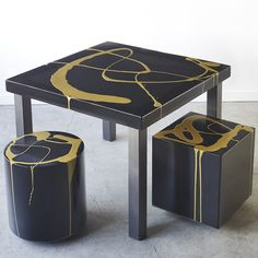 """Fluid Resin Table   Stunning one-of-a-kind resin and steel table with art application by Martha Sturdy. """"Charcoal"""" resin table top with """"new gold"""" art application"""
