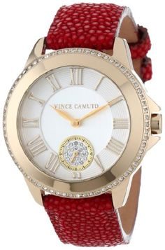 Vince Camuto Women%27s VC%2F5070SVRD Swarovski Crystal Accented Gold-Tone Red Stingray Leather Strap Watch