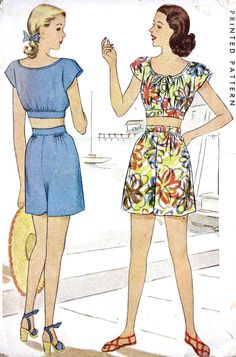 1940s Misses Two Piece Play Suit