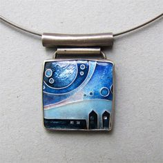 Night Sky     Cloisonne enamel on fine silver, set in sterling.   One inch by one inch cloisonne enamel with a 16 inch tension clasp neckwire.