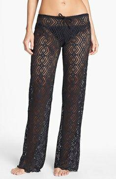 BECCA Crochet Cover Up Crochet Pants Black $60